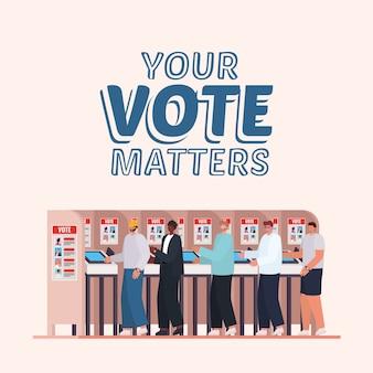 귀하의 투표를받은 투표소의 남성은 텍스트 디자인, 선거일 테마를 중요하게 생각합니다.