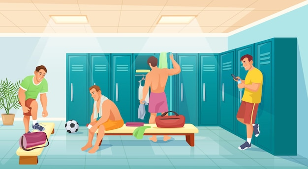 Men athletes in gym locker room, soccer team change clothes. sportsmen in changing room, football players after training vector illustration. fitness people dressing after sport match