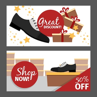 Men autumn shoes horizontal banner set