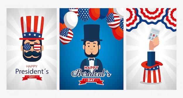 Men avatars cartoons of usa happy presidents day greeting card set
