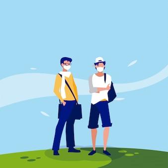 Мужские аватары с масками вне векторного дизайна