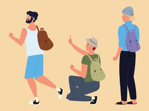 Men backpackers characters