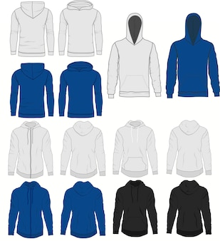 Men blue and grey hoody fashion, sweatshirt template. realistic outerwear clothes mockup front and back view. sport and urban style