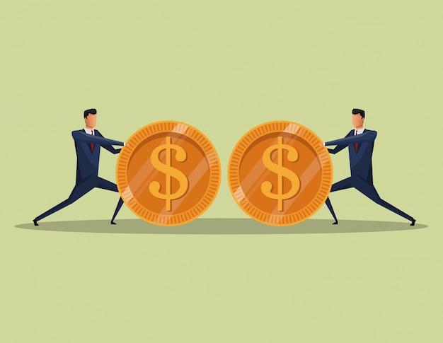 Men business concept finance money coins team vector illustration eps 10