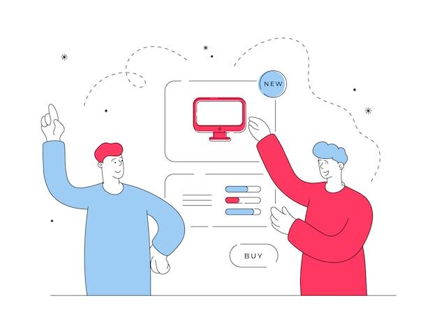 Men buying computer in online store. flat line illustration