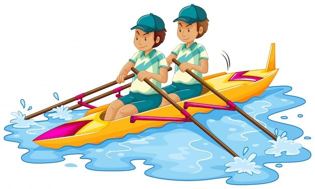 Men in canoe on white