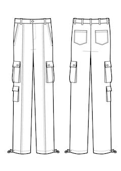 男性のカーゴパンツのベクトルテンプレート。黒と白