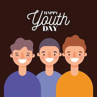Мужские мультики улыбающиеся счастливого дня молодости