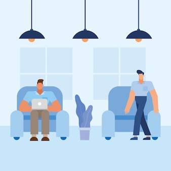 Men at chair in the office design, business objects workforce and corporate theme