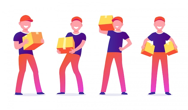 Men characters with parcels packages boxes. courier or delivery service. cheerful people in uniform. flat design set