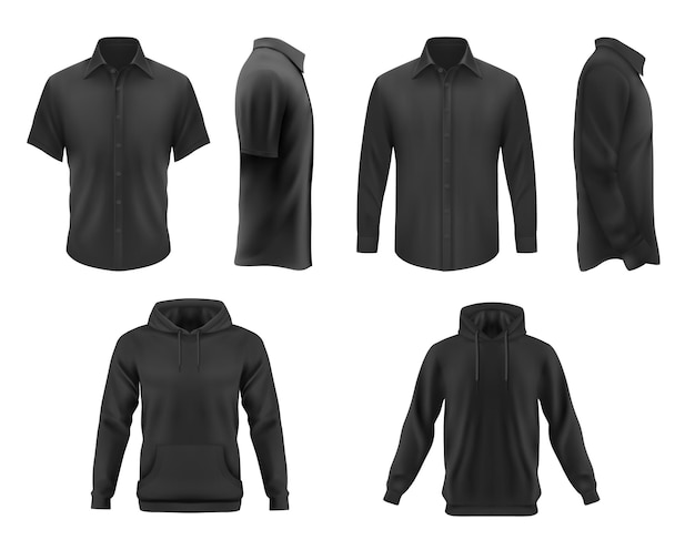 남성은 검은 색 티셔츠, 까마귀 및 긴 소매와 짧은 소매 의류가있는 셔츠를 입습니다. 현실적인 3d 남성 의류 및 속옷 템플릿입니다. 빈 의류 디자인, 의상 고립 된 개체 집합