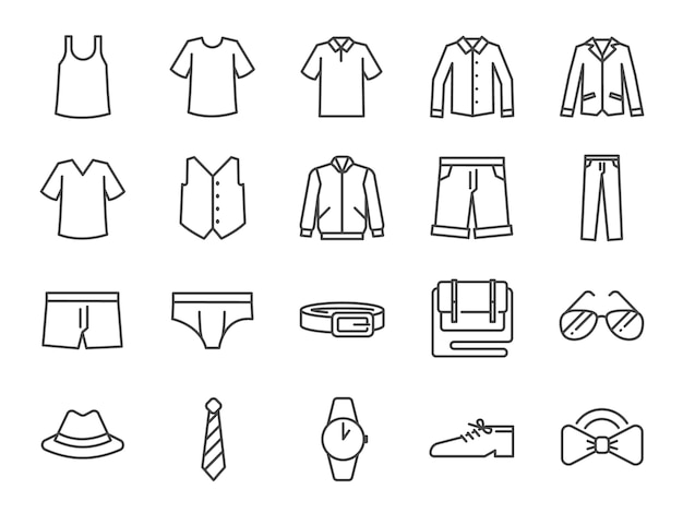 Men clothes icon set.