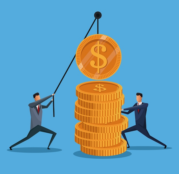 Men collaboration finance coin lifting