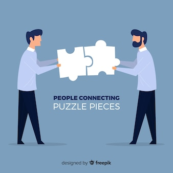 Men connecting puzzle pieces background