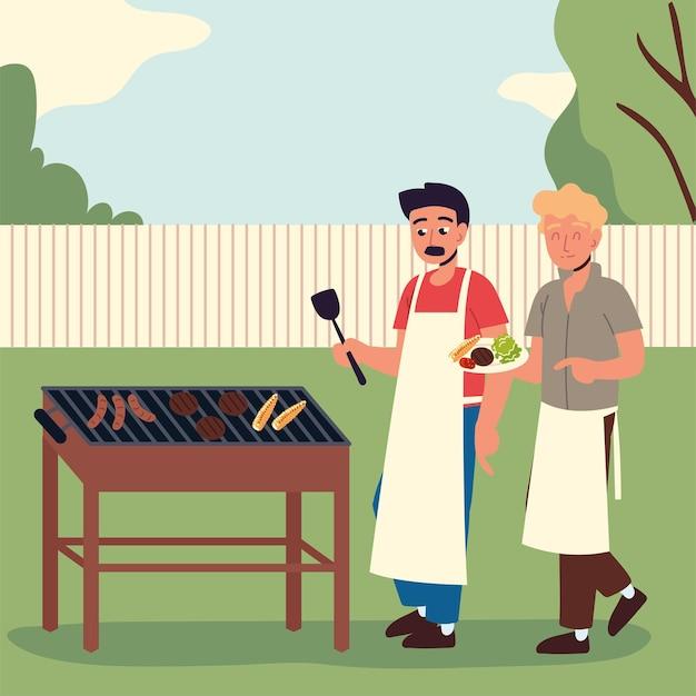 그릴 고기를 요리하는 남자