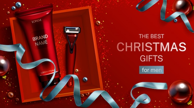 Men cosmetics christmas gift banner template. aftershave cream tube, safety razor blade in red box top view. shaver and body care cosmetic product