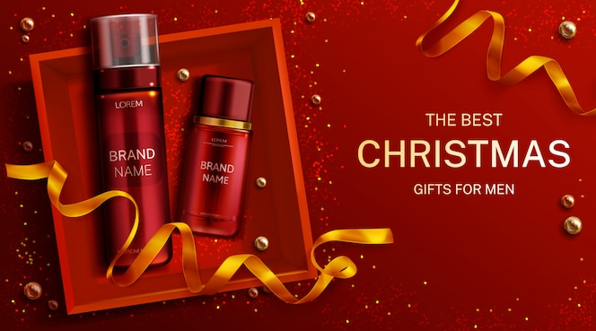 Men cosmetics christmas gift bottles shaving foam and lotion, cosmetic tubes in box top view with gold ribbon. body care product banner template