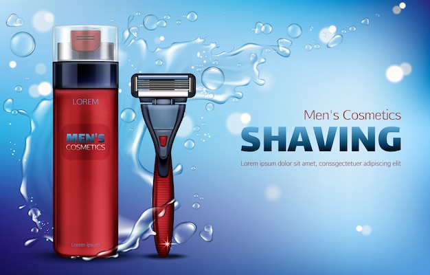 Men cosmetics, shaving foam, safety razor blade 3d realistic  ads poster.