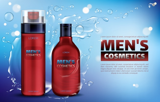 Men cosmetics, shower gel, shampoo, shaving foam 3d realistic ads poster.