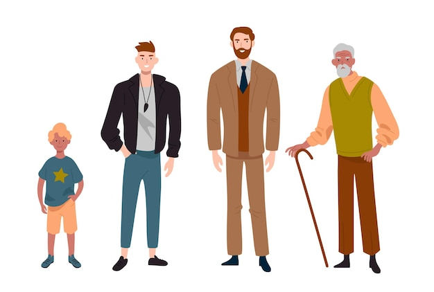 남자들. 연령대가 다릅니다. 어린이, 청소년, 성인 및 노인. 사람, 가족, 남성 라인의 세대.
