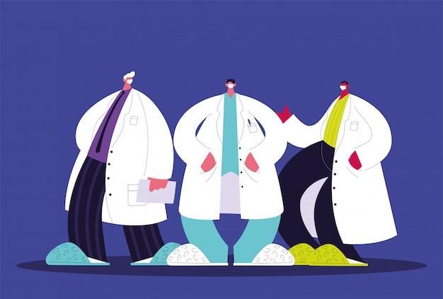 Мужчины врачи стоя, медицинская бригада
