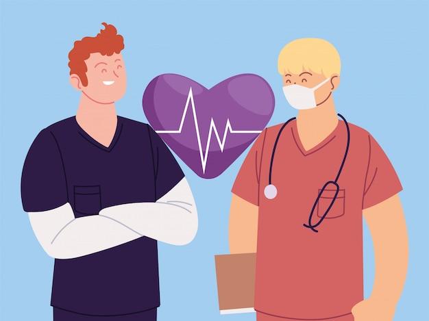 Мужчины врачи с униформой и вектор пульса сердца