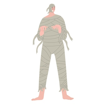 Men dressed like ancient monster mummy people in costumes on halloween party vector illustration