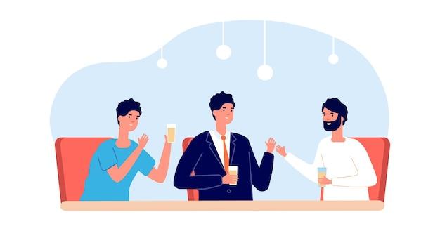남자들은 함께 술을 마신다. 맥주 잔을 들고 책상에 앉아 있는 남자 친구들. 카페에서 파티, 바에서 금요일 저녁 모임. 비즈니스 파트너 저녁 식사, 우정 또는 파트너십 벡터 일러스트 레이 션