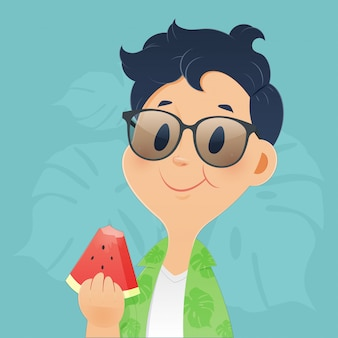 Men eating watermelon in the summer. concepts for illustration and vector design