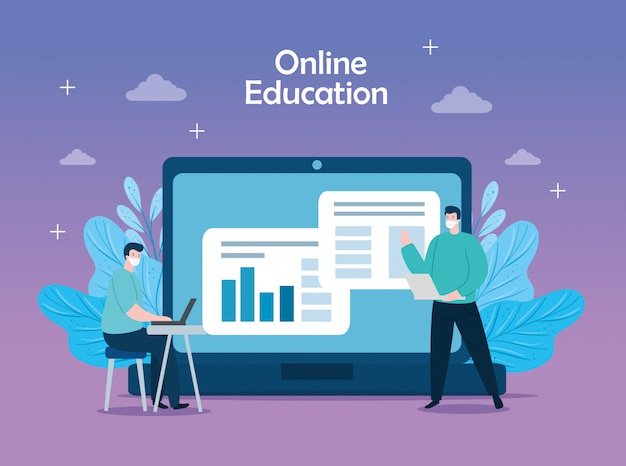 Men in education online with icons illustration design