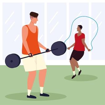 피트니스 체육관에서 운동하는 남자