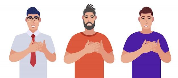 男性は、人々に前向きな気持ちを伝え、胸や心に手を添え、感謝と感謝の気持ちを表します。キャラクターセット。