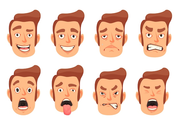 Men facial gestures set