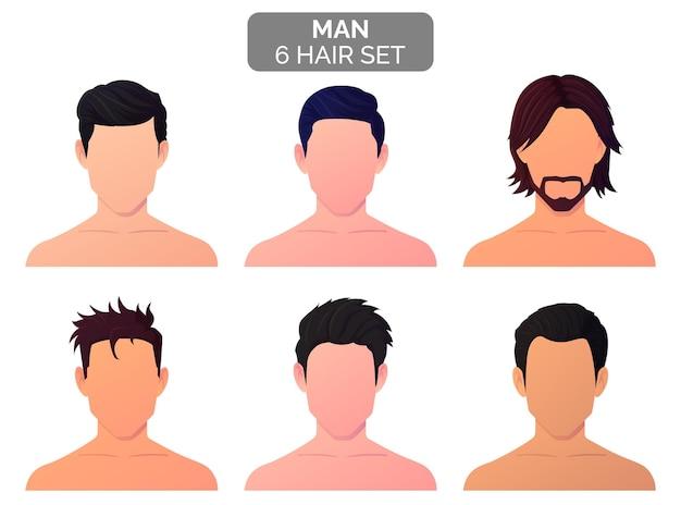 Men fashion hairstyle collection premium vector