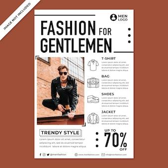 Продвижение мужской моды плакат в стиле плоского дизайна