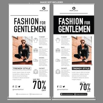 남자 패션 롤업 배너 인쇄 템플릿 현대적인 디자인 스타일