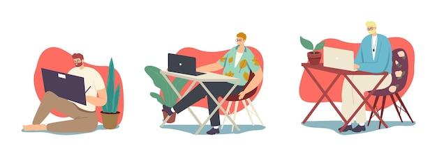 남성 프리랜서 또는 아웃소싱 작업자 남성 캐릭터는 집에서 컴퓨터로 작업합니다. 원격 직장, 숙제, 프리랜서 자영업 직업 개념. 만화 사람들 벡터 일러스트 레이 션