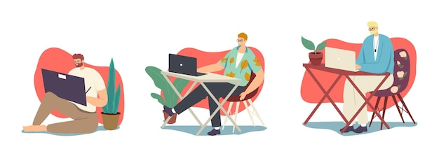 Men freelancers or outsourced workers male characters working from home on computers. remote workplace, homeworking, freelance self-employed occupation concept. cartoon people vector illustration