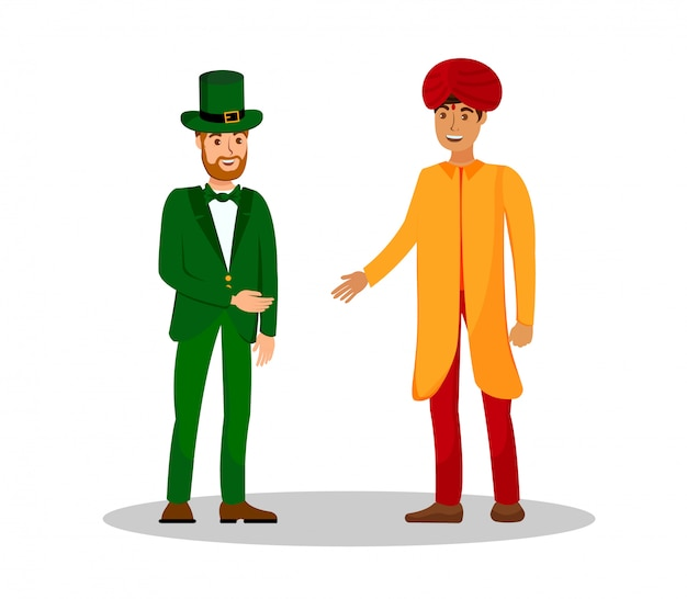 Men from ireland and india vector illustration