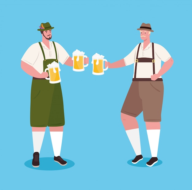 Немецкие мужчины в национальном платье с банками пива для празднования фестиваля октоберфест векторные иллюстрации