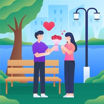 男性は美しい公園で女性に花を贈る