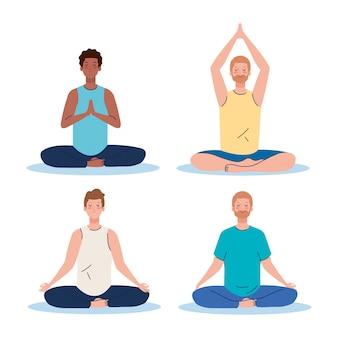 男性グループ瞑想、ヨガ、瞑想、リラックス、健康的なライフスタイルのコンセプト