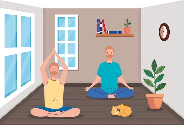 Группа мужчин медитации
