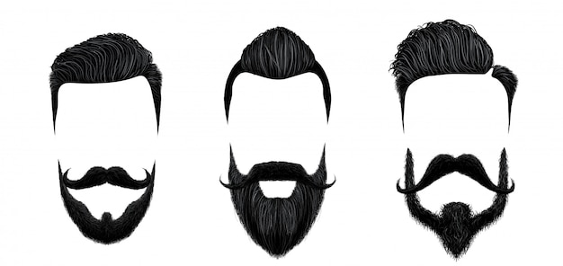 Men hair and moustache styling. vintage gentleman haircut, beauty beard and fashion mustaches styles  illustration set