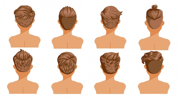 Men hair rear view. set of men cartoon hairstyles. collection of fashionable stylish types.