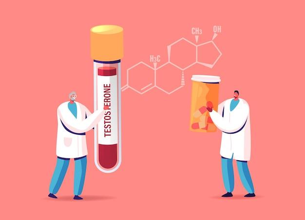 男性の健康、テストステロン療法のイラスト。患者の血液検査と医療薬を保持している巨大なホルモン式の小さな医者のキャラクター