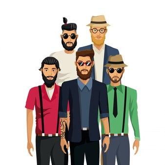 男性のhipsterファッションの髭のひげ帽子とサングラス