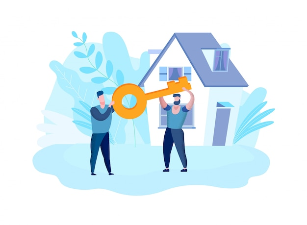 Men hold hands key on background house. vector.