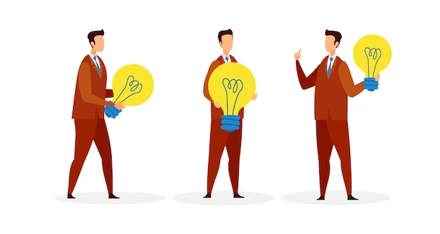 Men holding light bulbs cartoon characters set