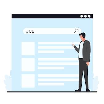 就職活動の検索タブのメタファーの前に電話を持っている男性。